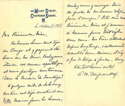South africazimbabwe invitation of pre daignault sj to open a notre dame mission in zambia april 19 1898 stopboris Images