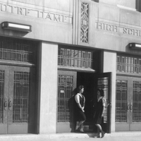 Notre Dame High School - Chicago, Front Doors with Students