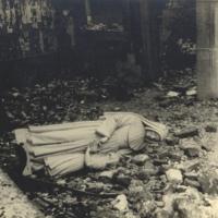 St Julie statue in ruins 1940-1945